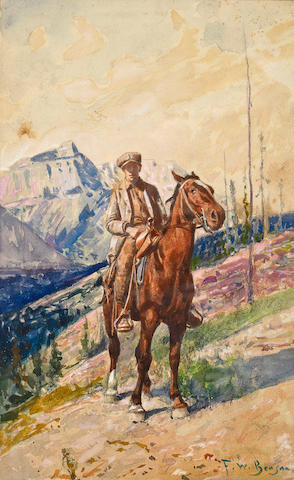 Frank Weston Benson (American, 1862-1951) Yound man on a roan horse in the mountains image 15 1/2 x 9 1/2in