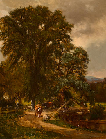 Samuel Lancaster Gerry (American, 1813-1891) Rustic Bridge 18 x 14in