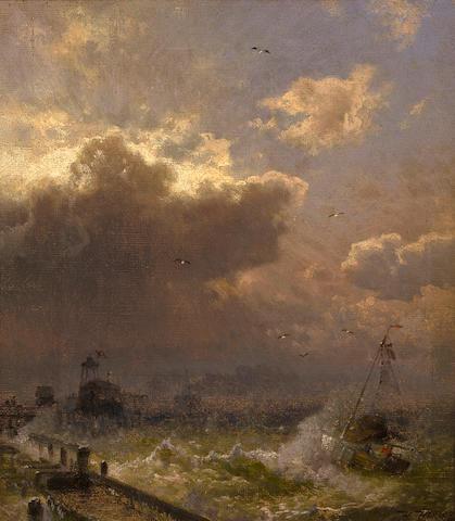 Herman Herzog (German, 1832-1932) Lighthouse, Ostende 17 x 15in