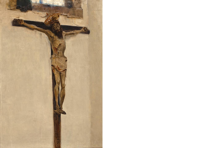 John Singer Sargent (American, 1856-1925) Sketch of a Spanish Crucifixion 36 x 25 3/4in