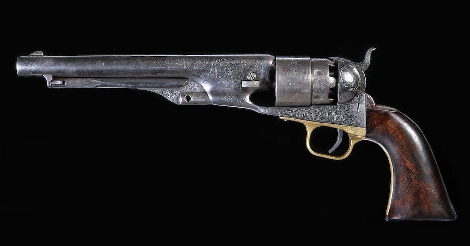 An historic Gustave Young deluxe engraved Colt Model 1860 Army percussion revolver with rare double presentation