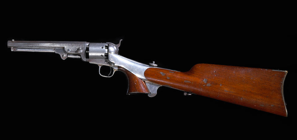 A scarce cased Colt Model 1851 Navy percussion revolver with shoulder stock
