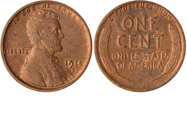1914-D 1C  Some obverse contact marks but with ample mint red throughout. Purchased March 1969 for $34.20. (PCGS 2473)
