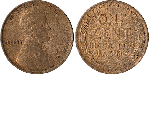 1914-D 1C  Surfaces are overall frosty brown with hints of reddish undertone. Very little if any wear evident. A fresh, original coin, purchased on 9/9/1969 for $36.(PCGS 2473)