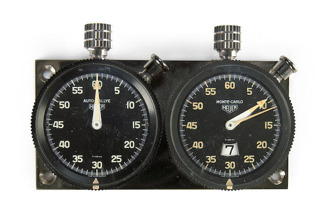 A Heuer dash mount stop watch set, from the film Le Mans,