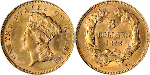 1878 $3 A stunning specimen. (PCGS 8000)