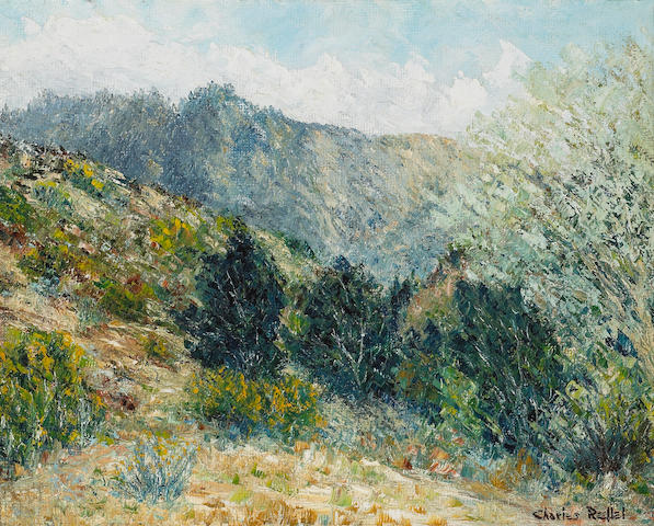 Charles Reiffel (American, 1862-1942) 'Mission Valley, Monrovia, California, San Gabriel Mountains' 12 x 15in