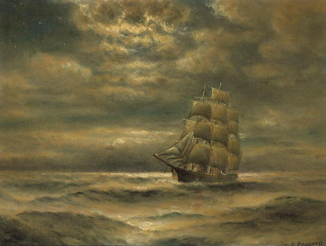William Alexander Coulter (1849-1936) Clipper ship in the moonlight 14 3/4 x 19 1/2in