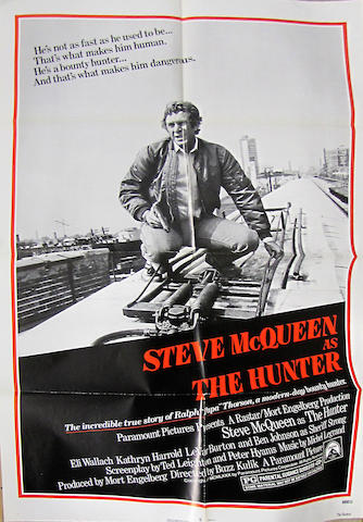 'The Hunter' movie poster, starring Steve McQueen, 41 x 27in.