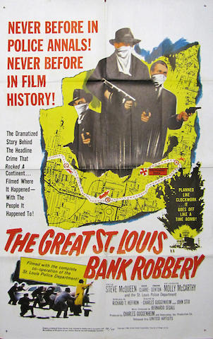 A rare 'The Great St. Louis Bank Robbery' movie poster, starring Steve McQueen, 1959, 41 by 27in.