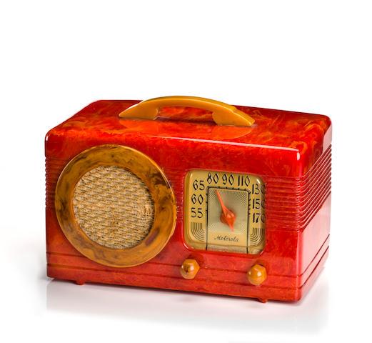 A Motorola cherry red 50XC Circle Grille radio circa 1940