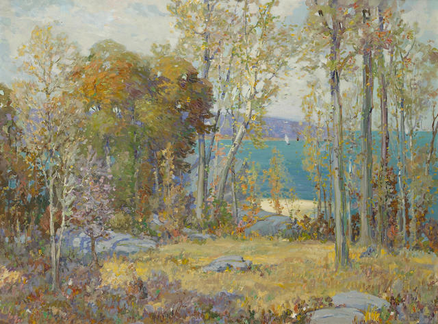 Ossip L. Linde (American, 1880-1940) Coastal view through the trees 30 x 40in