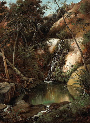 Henry Chapman Ford (American, 1828-1894) Trickling waterfall 24 x 18 1/4in