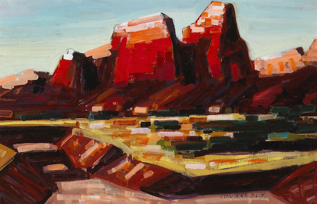 Conrad Buff (American, 1886-1975) Red rocks 15 x 23 1/4