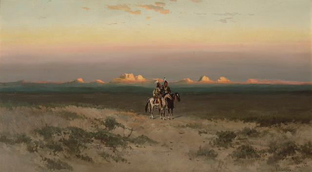 Frederick Ferdinand Schafer (German/American, 1839-1927) Two Indians in the Utah desert 19 3/4 x 35