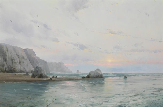 Thomas Kinkade (American, born 1958) Waning Day, Pacific Coast, 1984 20 x 30in