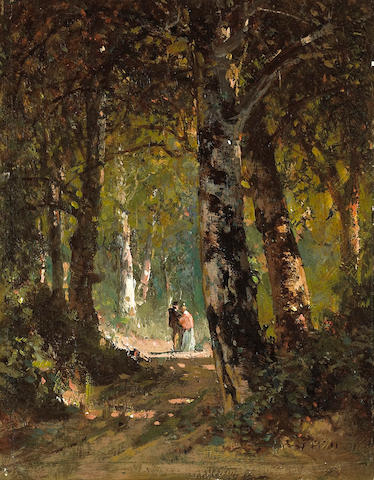 Thomas Hill (American, 1829-1908) Forest rendezvous 9 x 7in