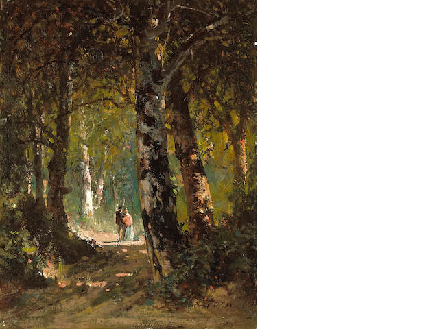 Thomas Hill (American, 1829-1908) Forrest roundezvous 9 x 7in