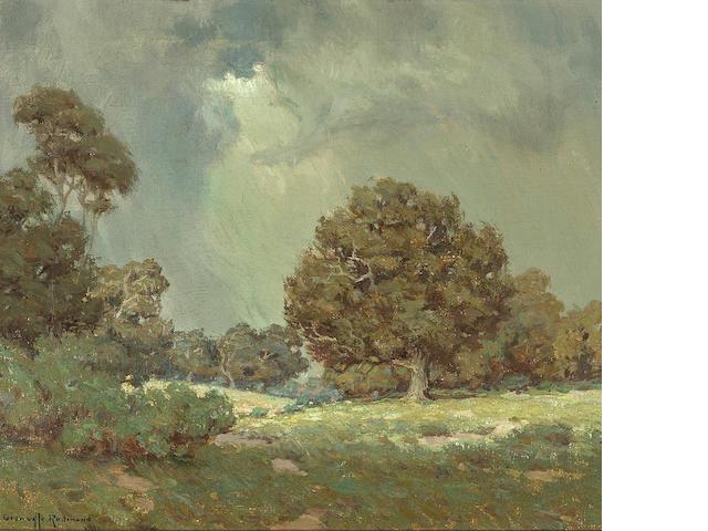 Granville Redmond (American, 1871-1935) Wildflowers under grey skies (The Coming Storm), 1916 12 x 14in