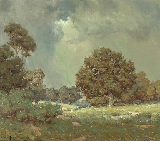 Granville Redmond (American, 1871-1935) Wildflowers under grey skies (The Coming Storm), 1916 12 x 14in