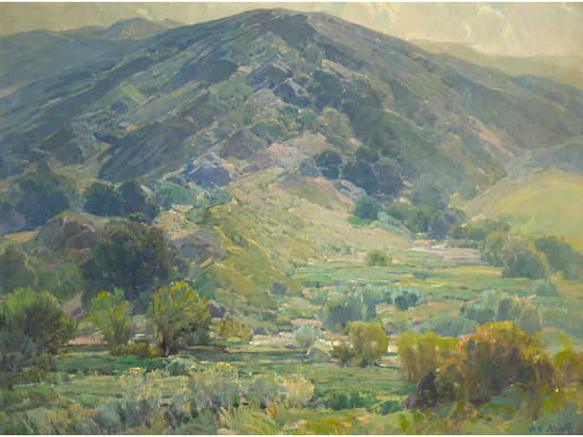 Hanson Puthuff (American, 1875-1972) 'Quiet Hills' 30 1/4 x 40 1/4in