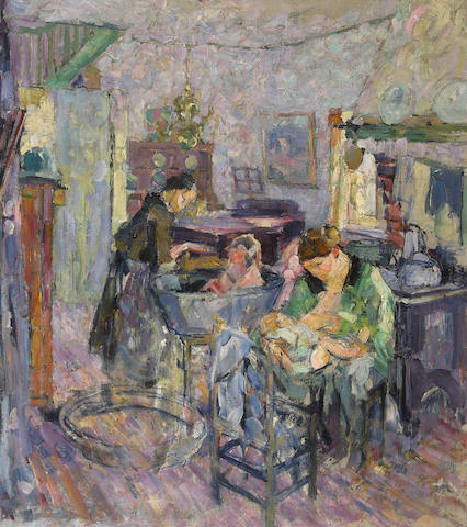 (n/a) Joseph Raphael (1869-1950) Interior with women and children 31 x 27 1/2in