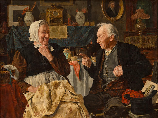 Louis Charles Moeller (1855-1930) Darby and Joan; Old Heads, Young Hearts 18 x 24in