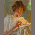 Edward Dufner (American, 1872-1957) By Lamplight 9 1/2 x 7 1/2in