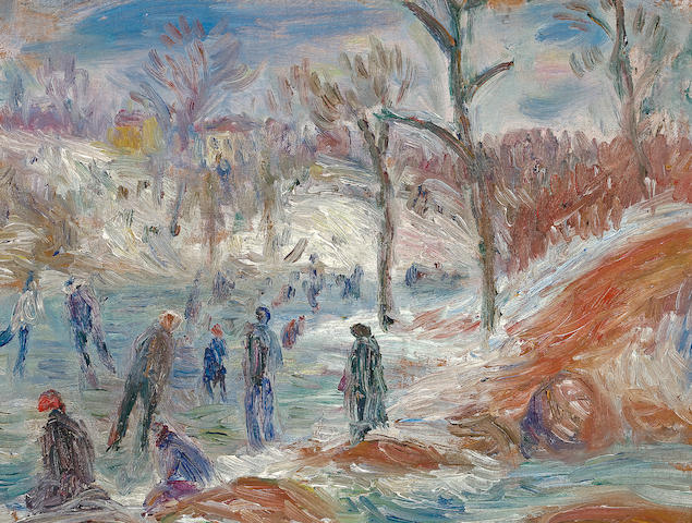 William Glackens (American, 1870-1938) Skating Pond 6 1/4 x 8 1/2in