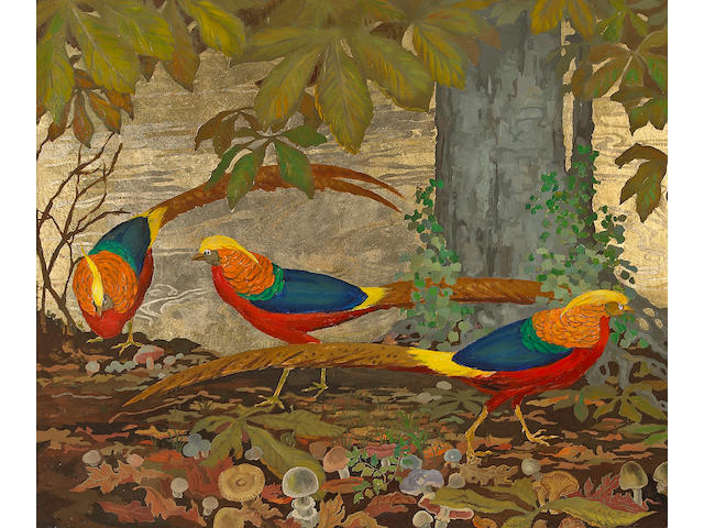 Jessie Arms Botke (American, 1883-1971) Golden Pheasants, c. 1929 20 x 24in