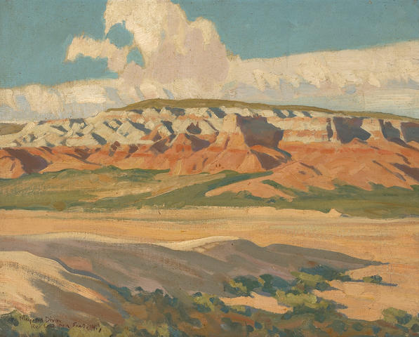 Maynard Dixon (1875-1946) 'Butte at Red Lake, Navajo Reservation, Arizona' 16 x 19 3/4in