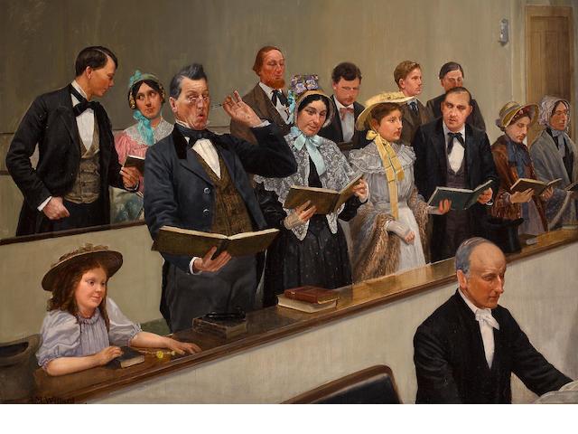 Archibald Willard (American, 1837-1918) Pitching the tune 35 x 49 1/2in
