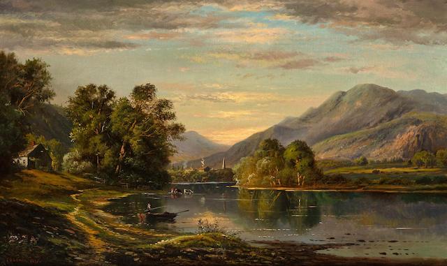 Edmund Darch Lewis (American, 1835-1910) River landscape 30 x 50in