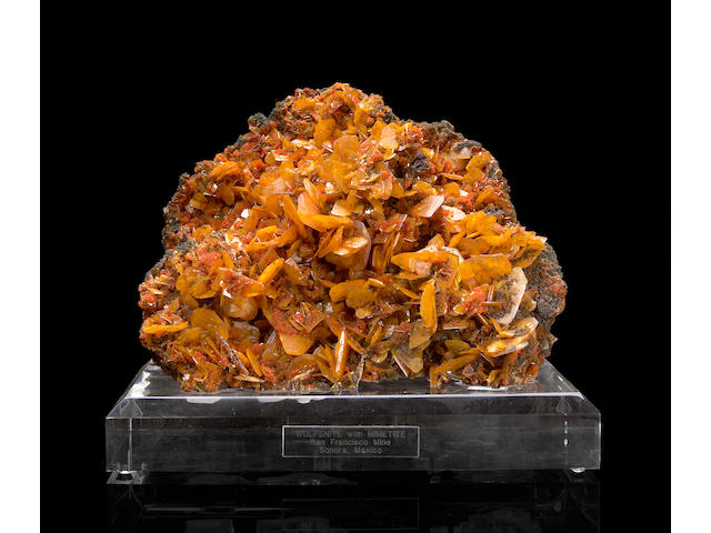 Wulfenite Crystals with Mimetite on matrix
