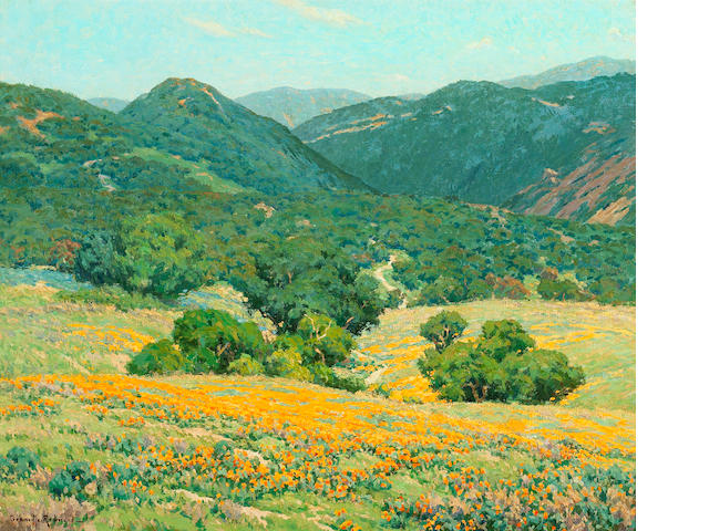 Granville Redmond (American, 1871-1935) Southern California Hills 25 x 30 1/4in