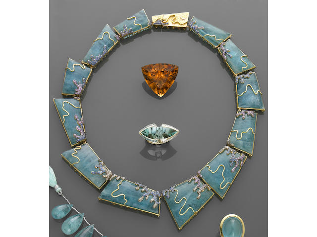 Aquamarine, Fancy Colored Sapphire and Chocolate Diamond Necklace