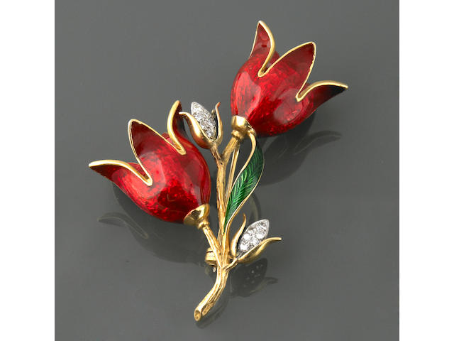 An enamel,diamond and 18k gold flower brooch, Tiffany & Co