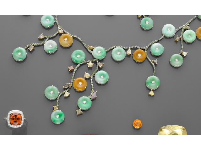 Jadeite and Diamond Necklace