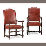 Two similar Louis XIV walnut armchairs <br>late 17th century