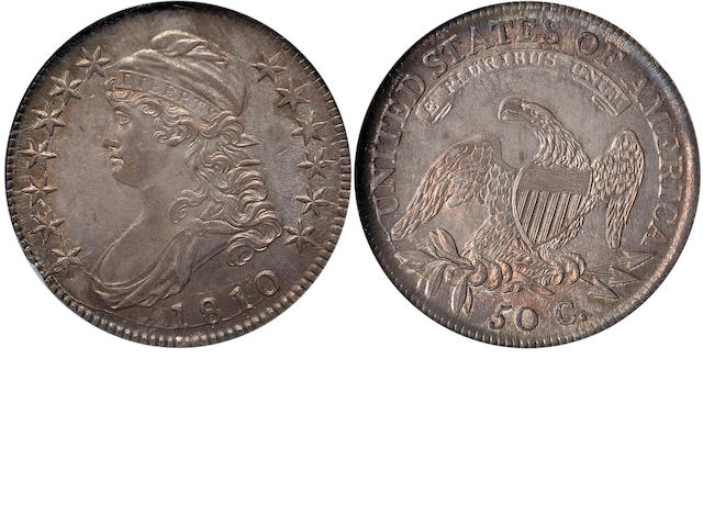 1810 50C MS62 NGC  O-101a, R.1. Early Capped Bust half dollars with exceptional eye appeal are where you find them - few and far between in the marketplace. Many if not most have been dipped to make them brilliant, while others demonstrate artificial toning or, if with original patination, are not particularly attractive. The present coin is a pleasant exception to all of the preceding. The toning is very attractive, nicely blended, changing from silver and gray to iridescent hues as the coin is rotated under a light. The striking is about typical for O-101, some lightness here and there, but on the present piece, quite sharp around the obverse borders, and sharp on nearly all details of the reverse. Within this grade range very few comparable pieces exist in terms of overall quality. (PCGS 6095)