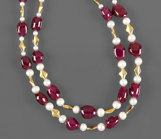 Ruby and Cultured Pearl Necklace