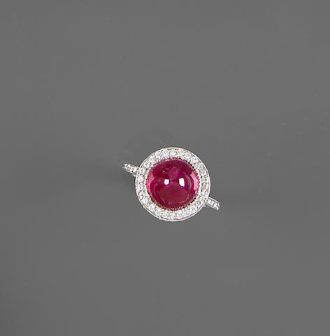 Fine Ruby, Diamond and Platinum Ring