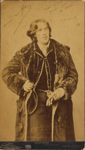 WILDE, OSCAR. Sgd photo v/ inscription.