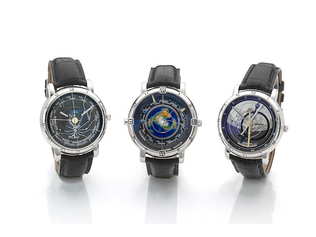 "Ulysse Nardin. A very fine and rare complete series of three platinum astronomical wristwatches made up of the ""Astrolabium Galileo Galilei"", the ""Planetarium Copernicus"", and the ""Tellurium Johannes Kepler"" in custom winding box The Trilogy, 1990's (3)"