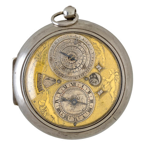 Henricus Harpur / Londini. A rare pre balance spring English silver pair case Astronomical verge watch with year calendar indicating date, month, sign of the Zodiac and time of sunrise with further indications for day of the week, and the age and aspect of the moon with the corresponding time of moonrise.circa 1670