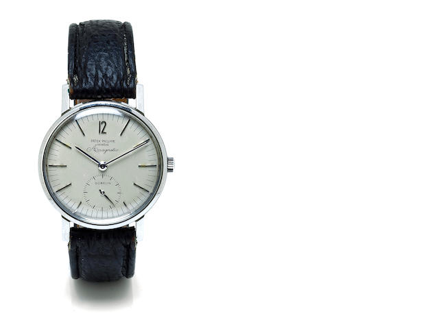 "Patek Philippe. A fine stainless steel anti-magnetic wristwatchRef. 3417A, ""Amagnetic"", movement no. 732818, case no. 2633185, retailed by Gübelin, 1960's"