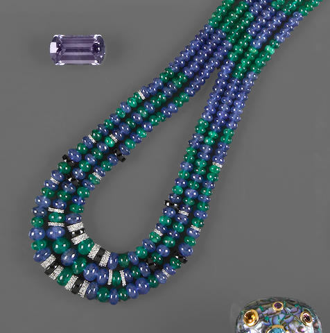 Emerald, Sapphire, Onyx and Diamond Necklace