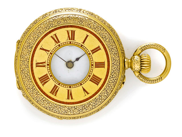 Fritz Piguet & Bachmann, Genève, A good enameled 18K gold half hunter cased fob watch and another watchdated 1884. (2)