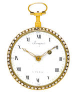 An interesting enameled gold openface watch probably Swiss, signed on the dial and  movement, Breguet à Paris, circa 1800 and later