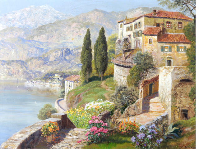 Gottfried Arnegger (Austrian, born 1905) A villa on a sunlit bay 23 x 30in